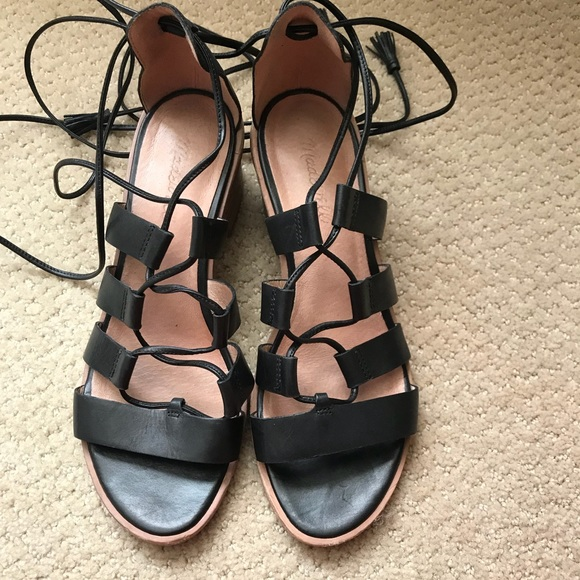 1abb0988f0c Madewell Shoes - MADEWELL black lace up sandals with heel.